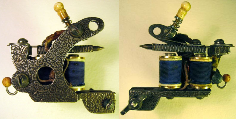 "Damascus and ivory liner Tattoo Machine. by ""Bernhard ""with mini coils."