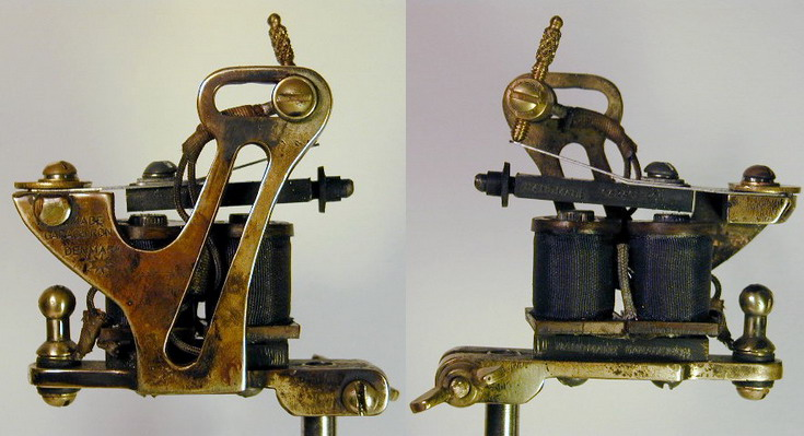 "BBB Brass Coleman Tattoo Machine. with 1 innch coils by ""Bernhard """